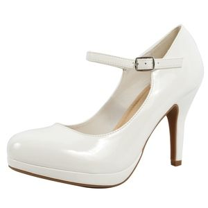 """White Faux Leather Patent Mary Jane High 3 3/4"""" He"""